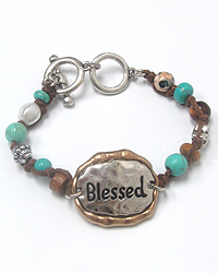 RELIGIOUS THEME TOGGLE BRACELET - BLESSED