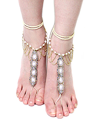 MULTI CRYSTAL AND SEED BEADS BAREFOOT SANDAL ANKLET - ONE PAIR