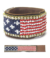 HANDMADE MULTI CRYSTAL AND SEED BEAD AMERICAN FLAG BRACELET