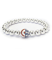 AMERICAN FLAG MULTI METAL BALL STRETCH BRACELET