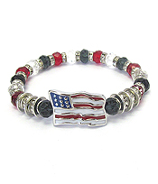 AMERICAN FLAG CRYSTAL RONDELL AND FACET GLASS BEAD STRETCH BRACELET