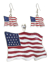 AMERICAN FLAG PENDANT AND EARRING SET