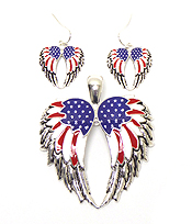 AMERICAN FLAG THEME ANGEL WING PENDANT SET