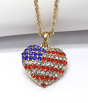 AMERICAN FLAG THEME HEART SHAPED NECKLACE