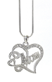 WHITEGOLD PLATING CRYSTAL MOTHERS DAY HEART PENDANT NECKLACE