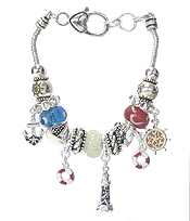 EURO STYLE MULTI BEAD AND CHARM BRACELET - NAUTICAL