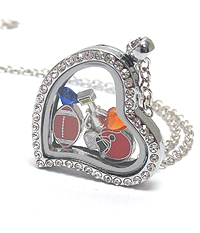 ORIGAMI STYLE FLOATING CHARM HEART LOCKET PENDANT NECKLACE-FOOTBALL - LOCKET OPENS AND CHARMS INCLUDED