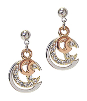 WHITEGOLD PLATING CRYSTAL MOON EARRING