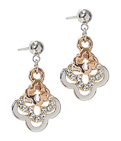 WHITEGOLD PLATING CRYSTAL QUATREFOIL EARRING