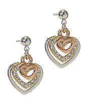 WHITEGOLD PLATING CRYSTAL HEART EARRING