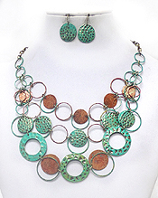3 LAYER LINKED PATINA NECKLACE SET - Wholesale Jewelry