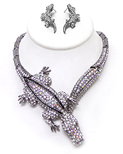 LUXURIOUS AUSTRIAN CRYSTAL ALLIGATOR PARTY NECKLACE EARRING SET