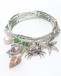 ABALONE MULTI SEALIFE CHARM STRETCH BRACELET