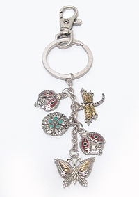 GARDEN THEME CHARM KEY CHAIN - BUTTERFLY LADY BUG