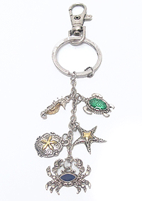 SEALIFE THEME CHARM KEY CHAIN - STARFISH TURTLE
