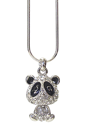 WHITEGOLD PLATING CRYSTAL PANDA PENDANT NECKLACE