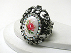 RETRO VINTAGE CRYSTAL AND FLOWER STONE OVAL STRETCH RING