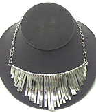 AZTEC STYLE MULTI TEXTURED METAL BAR DROP NECKLACE