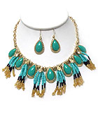 TEARDROP STONE AND SEED BEADS TASSEL MIX NECKLACE EARRING SET