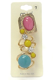CRYSTAL AND PUFFY STONE MIX 3 PAIR RING SET