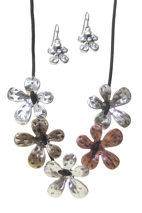 MULTI FLOWER LINK NECKLACE SET