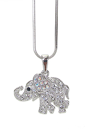 WHITEGOLD PLATING CRYSTAL ELEPHANT PENDANT NECKLACE