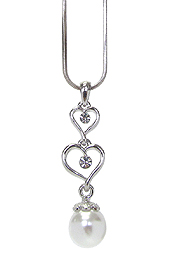 WHITEGOLD PLATING CRYSTAL DOUBLE HEART AND PEARL PENDANT NECKLACE