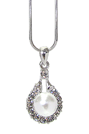 WHITEGOLD PLATING CRYSTAL PEARL PENDANT NECKLACE