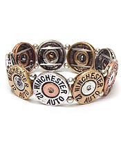 MULTI METAL BULLET DISKS LINKED BRACELET