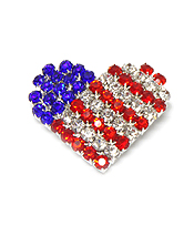 HEART SHAPE CRYSTALS AMERICAN FLAG PIN