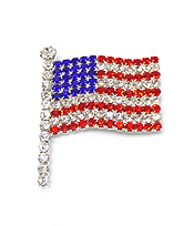 AMERICAN FLAG WITH CRYSTALS PIN