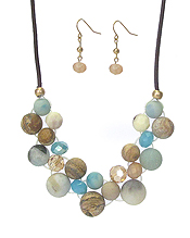 SEMI PRECIOUS STONE AND FACET GLASS BEAD MIX NECKLACE SET