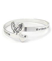 INSPIRATION MESSAGE HEART METAL BANGLE BRACELET - MOM AND DAUGHER