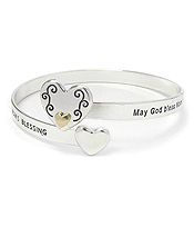 INSPIRATION MESSAGE HEART METAL BANGLE BRACELET - MOM'S BLESSING