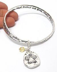 RELIGIOUS INSPIRATION CHARM AND TWIST BANGLE MESSAGE BRACELET - GUARDIAN ANGEL