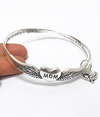 MOTHER LOVE CHARM AND TWIST BANGLE MESSAGE BRACELET - MOTHER
