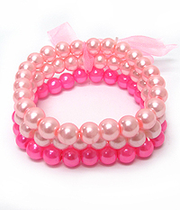 MULTI COLOR 3 LAYER PEARL STRETCH BRACELETS