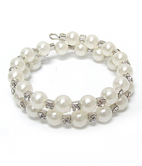 COILED PEARL AND CRYSTAL WRAP BRACELET