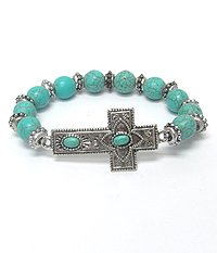 TURQUOISE STONE CROSS STRETCH BRACELET