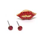 CRYSTAL STUD EARRING AND LIP EAR CUFF SET OF 3