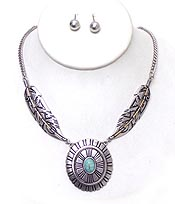 AZTEC PATTERN TURQUOISE CENTER DISK AND FEATHER NECKLACE SET