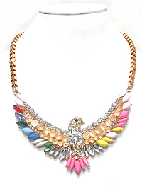 CRYSTAL AND ACRYL THUNDERBIRD STATEMENT NECKLACE