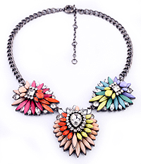 CRYSTAL AND ACRYL FUN PARTY STATEMENT NECKLACE