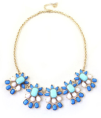 CRYSTAL AND ACRYL STATEMENT NECKLACE