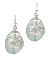 SEALIFE THEME SEA GLASS EARRING - SAND DOLLAR