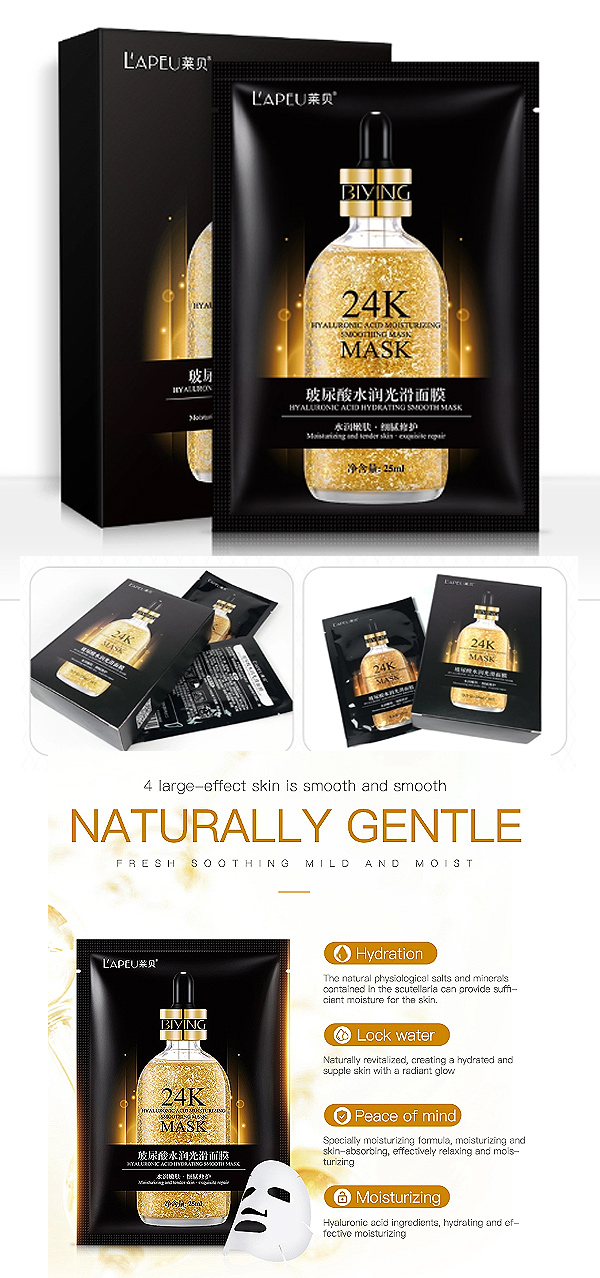 10 PACK OF LONG LAST MOISTURIZING & HYDRATING FACE MASK SHEET WITH 24K GOLD