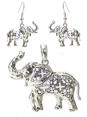 METAL FILIGREE ELEPHANT PENDANT AND EARRING SET