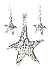 METAL FILIGREE STARFISH PENDANT AND EARRING SET