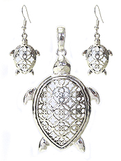 METAL FILIGREE TURTLE PENDANT AND EARRING SET