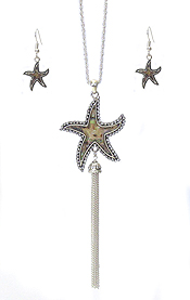 CRYSTAL AND ABALONE STARFISH AND FINE CHAIN TASSEL DROP LONG NECKLACE SET